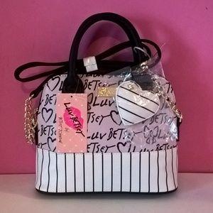 betsey johnson purse satchel bag shoulder strap